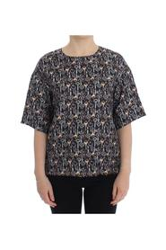 Key Print Silk Blouse T-shirt