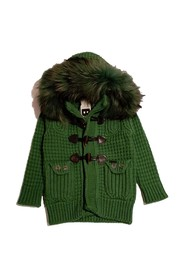 KNIT COAT WITH HOOD AND FUR