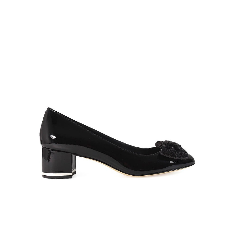 PARIS BLACK MID PUMP WITH SEQUINED BOW