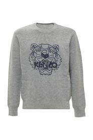 Sweater with Tiger Embroidery