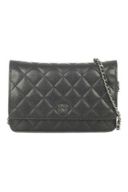 Brukte Quilted Caviar Leather Wallet On Chain