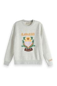 Grey Melange Maison Scotch Crewneck sweat with embroidered artwork