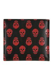 Skull Print Leather Wallet