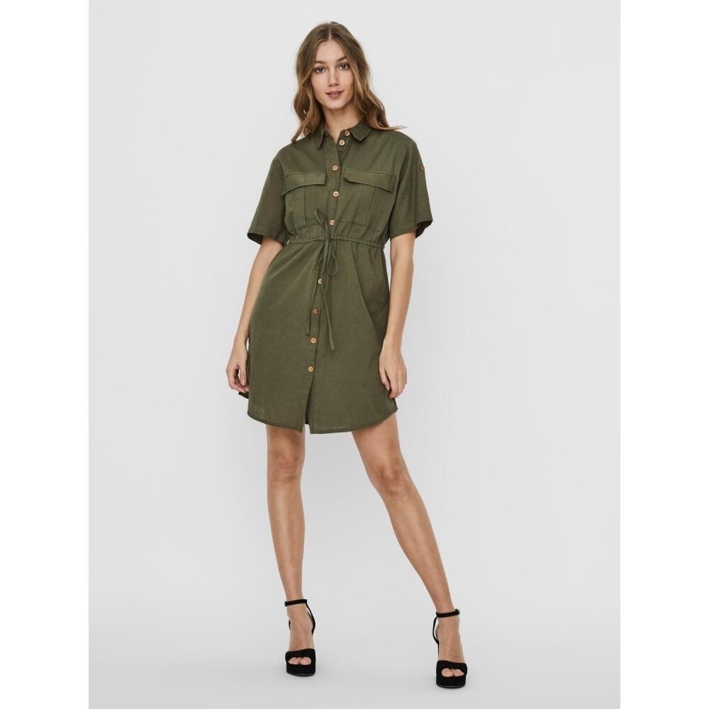 Green HIRAM LINE S / S SHIRT DRESS   Noisy May   Kleider   Damenbekleidung