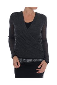 Wool Lace Top Long Sleeved T-shirt