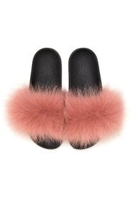 FOX FUR SLIPPERS ANTIQUE ROSE