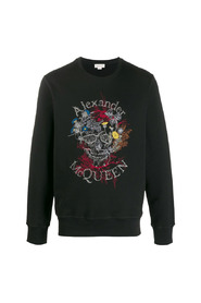 Floral Themed Skull Embroidery Sweatshirt