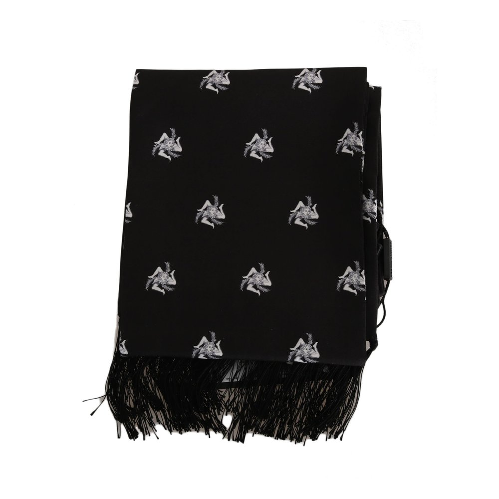 Black Silk Crown Fringes Herens Wrap Scarf | Dolce  Gabbana | Sjaals | Heren accessoires