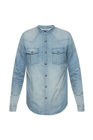 Denim shirt with standing collar