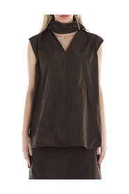 Sleeveless top with scarf jewellery fastening