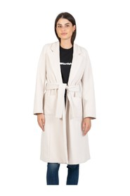 Long talc coat with belt