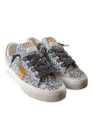 glittery sneakers with laces