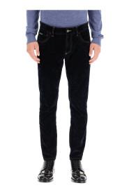 slim jeans with velvet coating