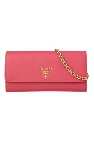 Saffiano wallet on chain in pink