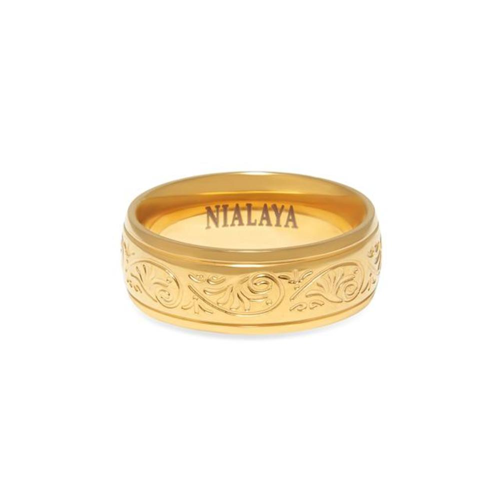 Men's Gold Engraved Band Ring