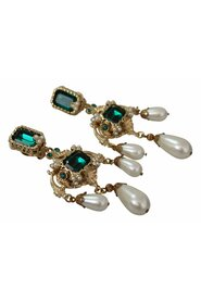 Crystal Charms Dangle Clip-on  Earrings