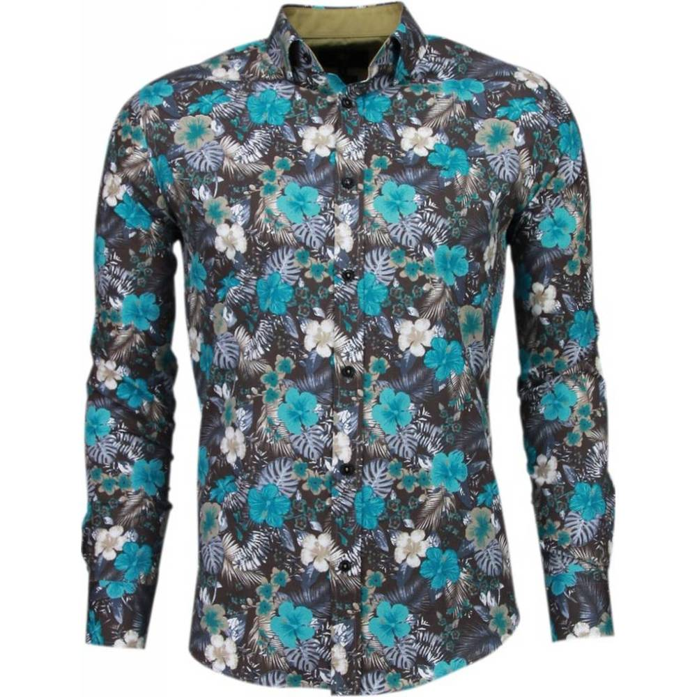 Slim Fit Shirt Flower Pattern