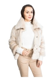 Faux fur jacket with a collar