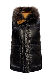 Quilted down vest with hood