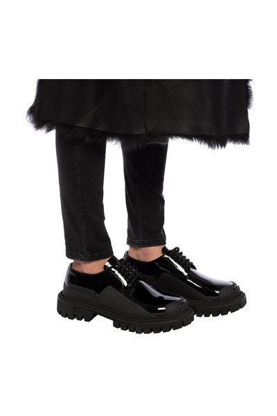 Dolce & Gabbana Black Sneakers With Derby Motif