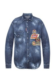 Patched denim shirt