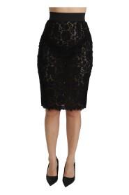 Lace Pencil Cut High Cotton Skirt