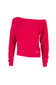 Jacky Luxury katoenen off-shoulder trui kleur hot pink (fuchsia roze)