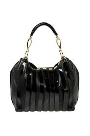 Black Patent and Leather Stripe Logo Hobo