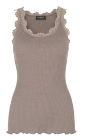 Brun Rosemunde Rosemunde Silk Top Regular W/Vintage Lace Overdeler