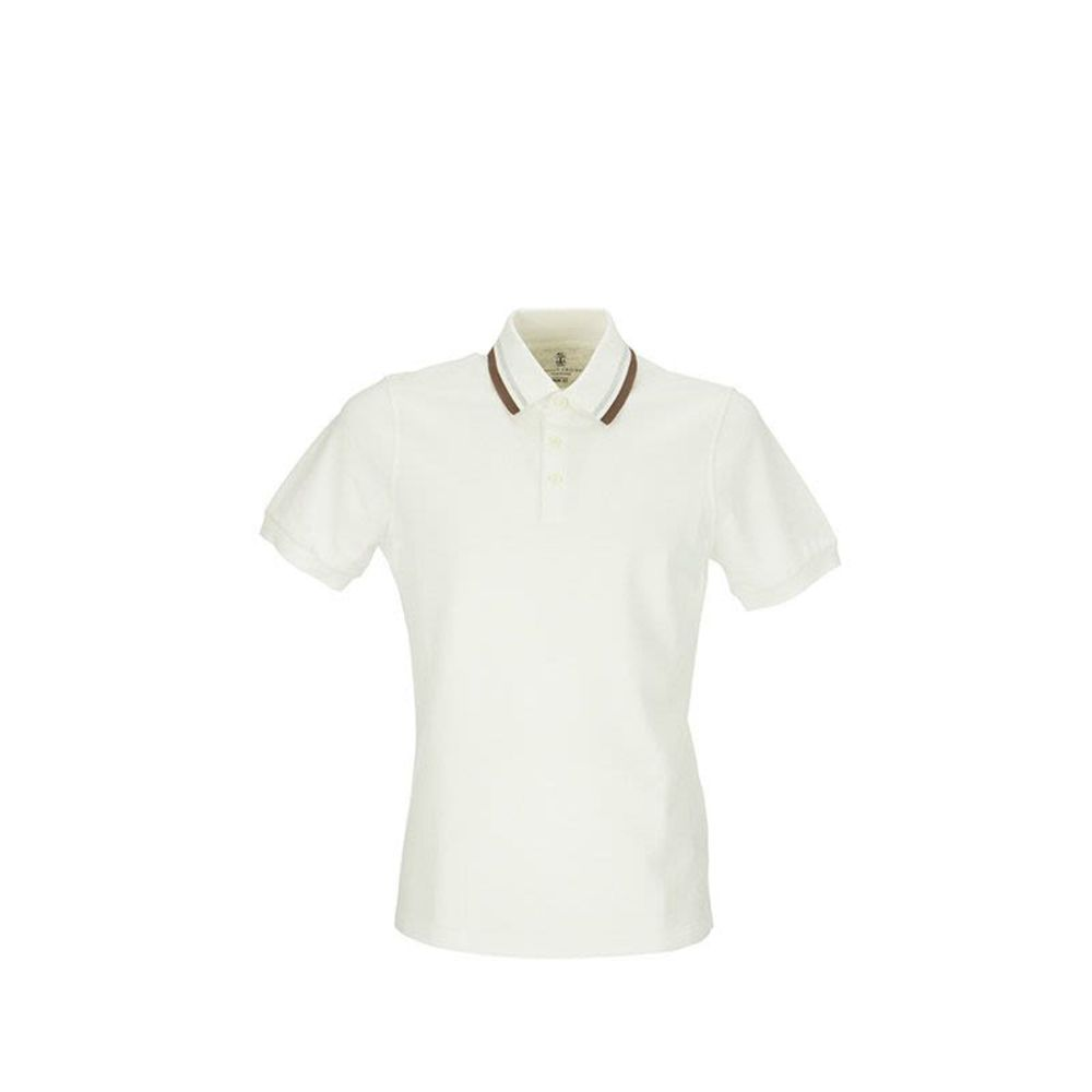 Brunello Cucinelli slim fit polo shirt with striped knit collar Vit