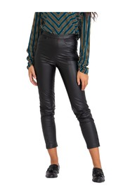 Black tight-fitting eco-leather trousers