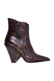 Texan ankle boot in leather with cone heel