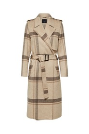 Camel Selected Femme Tana Check Coat Drops