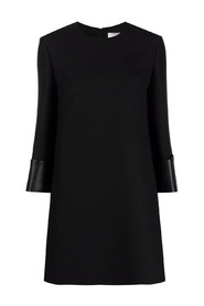 Crêpe Couture dress with leather trim