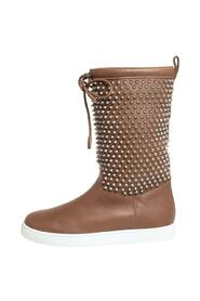 Leather Surlapony Spiked Mid Calf Boots