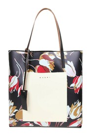shopping bag in leather with flower print
