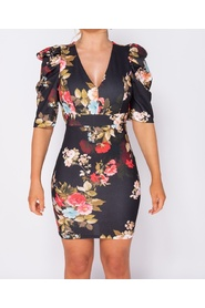 Floral Print Puffed - Bodycon Mini Dress
