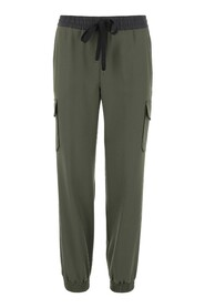 Pants High waist with drawstring Two cargo pockets with flap
