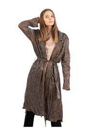 Long old gold mini pleated duster