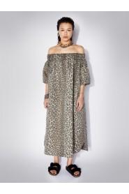 Olive Oversized Off-Shoulder Leopard Dress