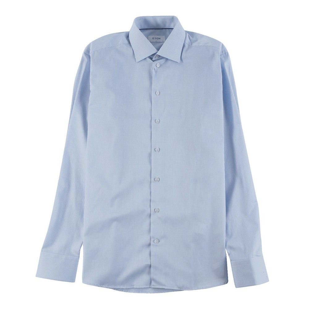 Lyseblå Check Twill Shirt Slim Fit
