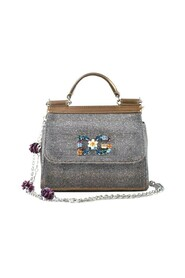 Sparkly Fabric Mini Sicily W / Crystal Logo & Flowers On Chain -Pre Owned Condition Fremragende
