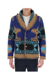 Geometric-print fringed cardigan