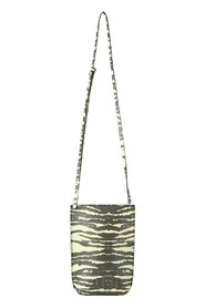 Recycled-Leather Embossed Shoulder Bag