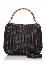 Bamboo Woven Leather Satchel