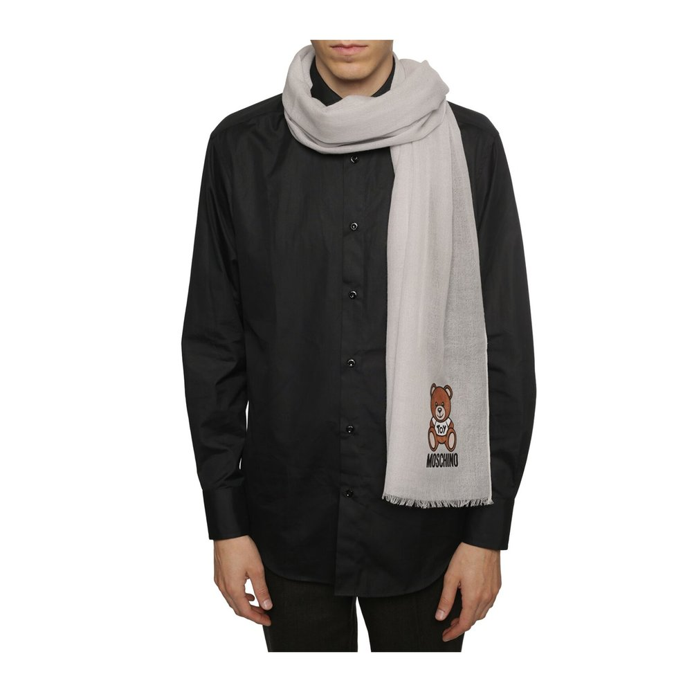 GREY Wool scarf with logo | Moschino | Sjaals | Heren accessoires