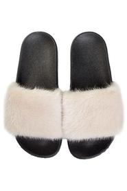 MINK FUR SLIPPERS SAND