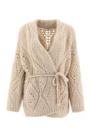 Tied-waist wool cardigan