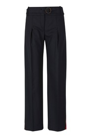 Trousers with side satin strip