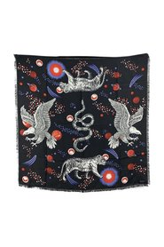 Silk Space Animals Print Square Scarf
